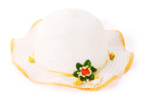 white wicker girlish hat with orange trim and decorative flower