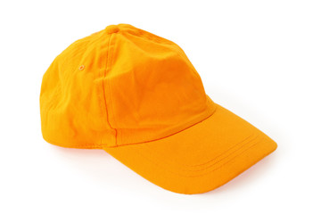 clean new universal orange cap with clipping path on white