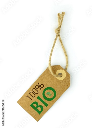 Label 100% BIO green text and leaf