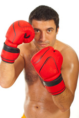Close up of boxer man