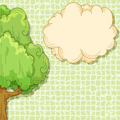 Abstract cartoon tree with cloud for your text