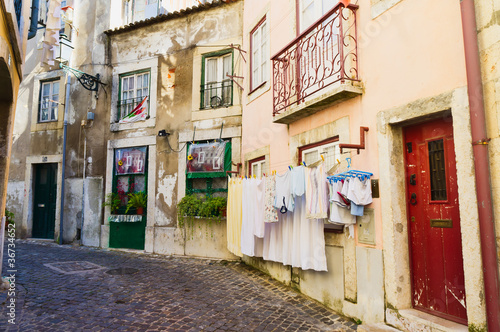 Alfama district,Lisbon Portugal. Washing day.