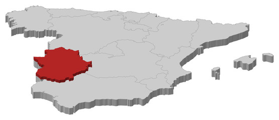 Map of Spain, Extremadura highlighted