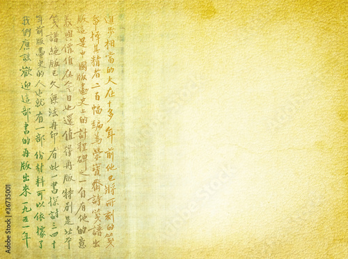 Chinese characters on the old parchment - ancient calligraphy