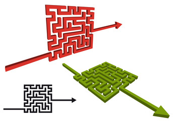 maze arrow signs, vector