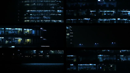 HD - Business Center at night. Windows of office building