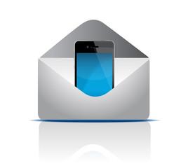 Phone inside an envelope illustration design on white