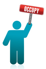 icon holding a occupy sign illustration design