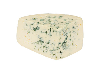 A piece of fresh cheese on a white background