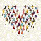Social media people in heart shape