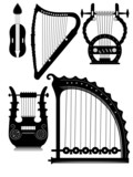 antique strings instruments - vector poster