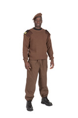 militaire en uniforme fond blanc détouré