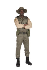 Garde forestier sur fond blanc bras croisés