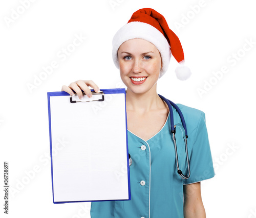 Christmas doctor with clipboard