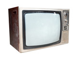 Old vintage TV isolated