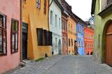 Sighisoara medieval street, Transylvania in Romania poster