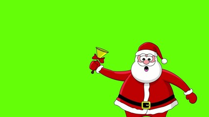Funny Santa Claus with bell. Green screen