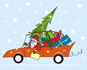 santa claus in the car