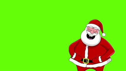 Funny laughing Santa Claus. Green screen