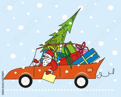 santa claus in the car