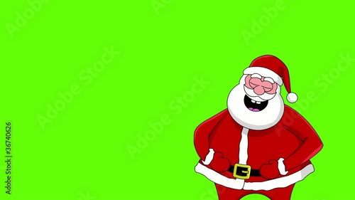 Funny laughing Santa Claus. Green screen