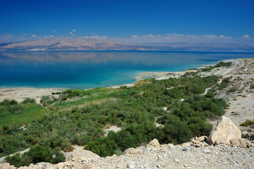 Panorama of Dead Sea and Arava desert, Israel