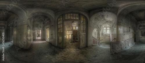 abandoned hallway panorama