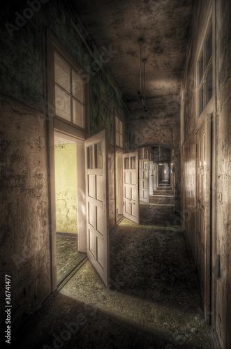 hallway with open doors