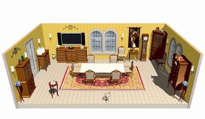 Sala da Pranzo Progetto-Dining Room Plan-3d