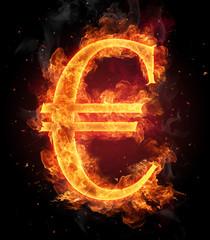 Burning Euro symbol