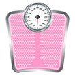 Bathroom pink scale isolate over white background