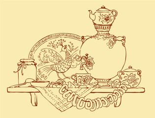 Vector Sketch a still life with samovar, bagels and jam