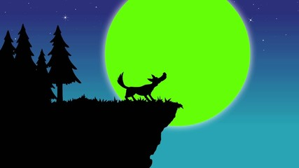 Wolf howling to moon - Green screen
