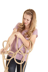 girl tangled rope