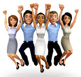 3D Happy business group