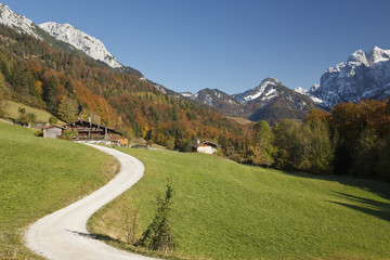 Herbstfärbung im Kaisertal bei Kufstein in Tirol, Austria.