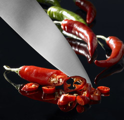 chillies and kitchen knife