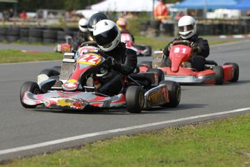 Line of racing go karts