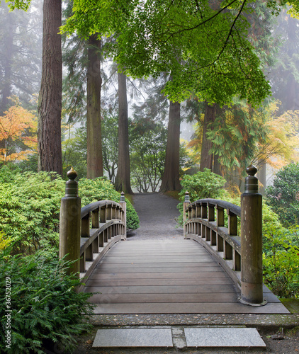 Panel Szklany Foggy Morning at Wooden Foot Bridge at Japanese Garden