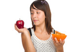 Girl Deciding Between Healthy and Junk Food poster