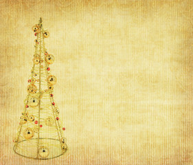 Old antique vintage paper background with Christmas decoration