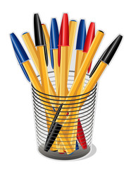 Ballpoint Ink Pens in Desk Organizer