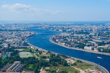 Birdseye view of Neva river in St. Petersburg, Russia
