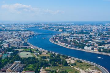 Birdseye view of Neva river in St. Petersburg, Russia
