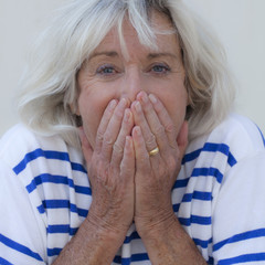 mature woman surprised embarrassed