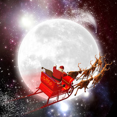 Weihnachtsmann mit Rentierschlitten, Mond, Weltraum