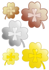 four-leaf clover gold silver bronze
