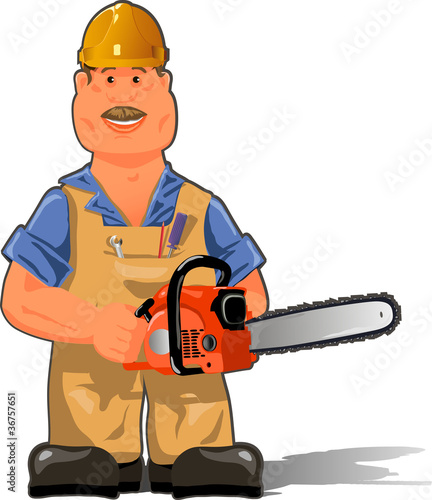 poster of working with a chainsaw