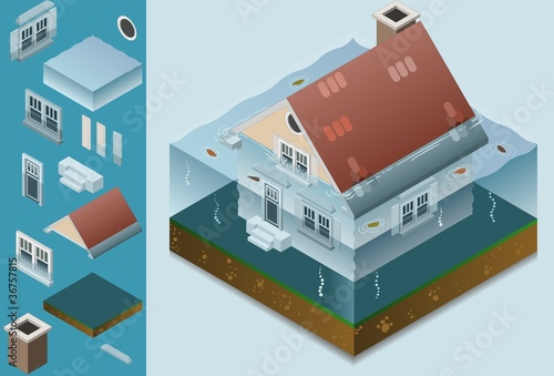 isometric flooded house