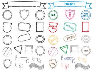 set di timbri, sigilli e francobolli